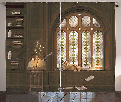 Gothic Curtains Medieval Library Cat Window Drapes 2 Panel Set 108x84 Inches