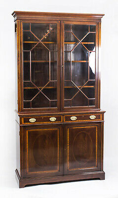 Antique Edwardia nInlaid  Mahogany Bookcase by Maple & Co C1900