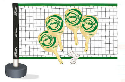 Complete Pickleball Set 4 Players DMI Wooden 4 Paddles 3 Balls Net Badminton New