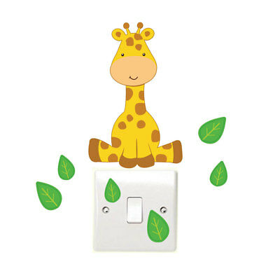 Giraffe and Leaves Light Switch Wall Sticker Children's Bedroom Playroom Fun