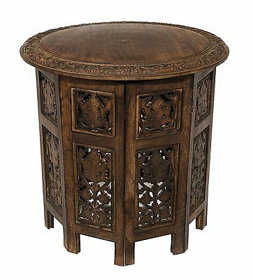 Cotton Craft Jaipur Solid Wood Hand Carved Accent Coffee Table Antique Brown art