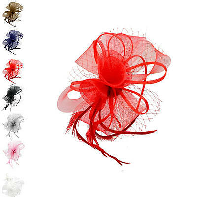 Finecy In - Flower Feather Hair Hat Fascinator Headband Clip Wedding Royal Ascot
