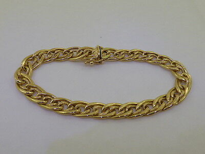 18ct Solid Yellow Gold Double Curb Link Italian Chain Bracelet 19cm
