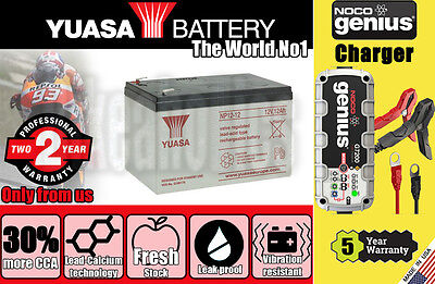 Genuine Yuasa Battery 2Years Warranty - NP12-12 + Noco G7200 charger