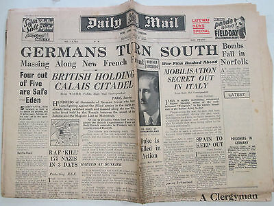 Original WW2 newspaper Daily Mail June 3, 1940 Germans Turn South.. Dunkirk etc
