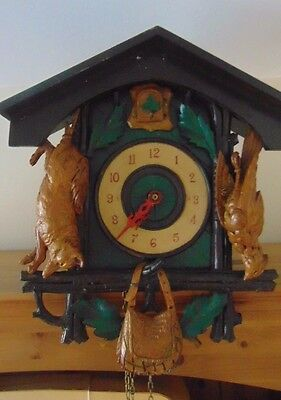 Antique black forest cuckoo clock hunting shooting interest