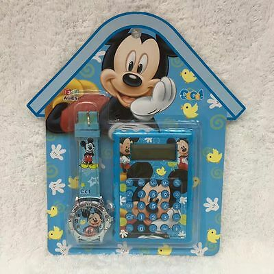 Lot Mickey Mouse Cartoon Faux Leather Quartz Watches and Calculator Sets Z577