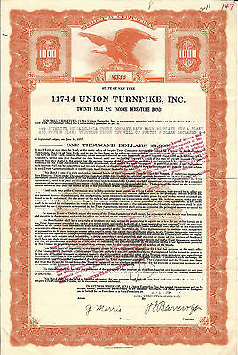 1934 NEW YORK 117-14 Union Turnpike Bond Stock Certificate