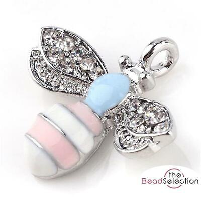 BUMBLE BEE CHARM PENDANTS 20mm CRYSTAL RHINESTONE PINK BLUE ENAMEL C125