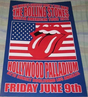 Rolling Stones 1972 Hollywood Palladium Replica Concert Poster W/top Loader