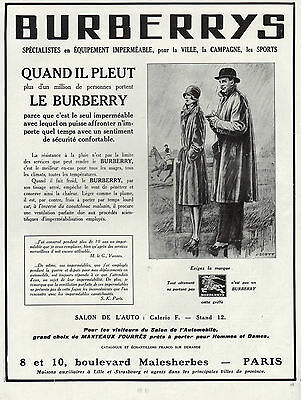 Publicite  Burberrys Le Burberry Impermeable  Mode Fashion  Ad  1929    10E