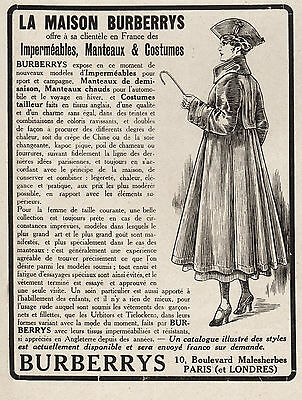 Publicite  Burberrys Impermeable  Burberry  Mode Fashion  Ad  1916    11E