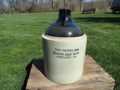 Antique stoneware jug Liquor Dealer Ashland Pa