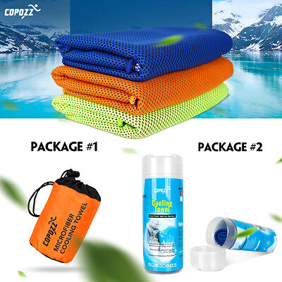 Copozz Ice Feeling Quick Cooling Towel 100x30CM for Sports Fitness Gym Dry Fast