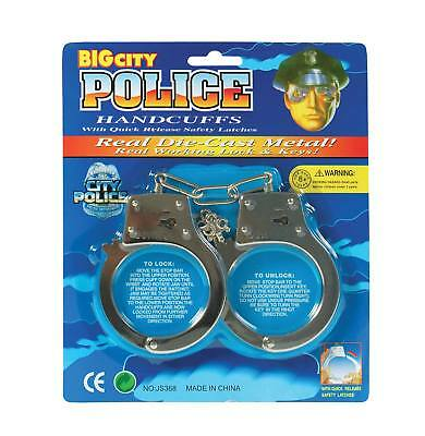 FANCY DRESS Fake Police Handcuffs (Blister Carded Metal)