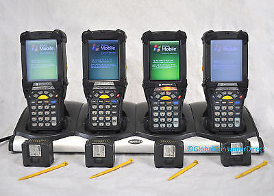 LOT of 4x Motorola SYMBOL MC9090-SU0HJAFA6WR MC9090S 1D Barcode Scanner +CRADLE!
