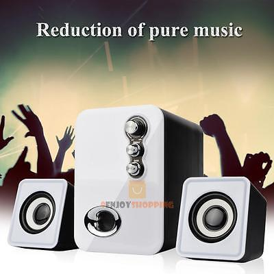 3D Sound 2.1 CH PC Computer Speaker with Dual Subwoofer Laptop Desktop Tablet