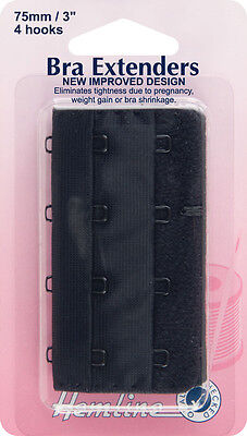 Bra Back Extender With 4 rows and 4 Hooks BLACK 75mm. No Sewing Clip on Extender