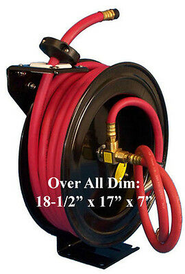 """1/2"""" x 50' Retractable Air Hose Rubber Reel Wall Truck Mount 300 PSI"""