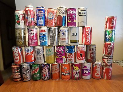 Vintage Soda Pop Can Lot 36 DisGo New Coke Old Moxie 7 up Uncola Pepsi Some Rare