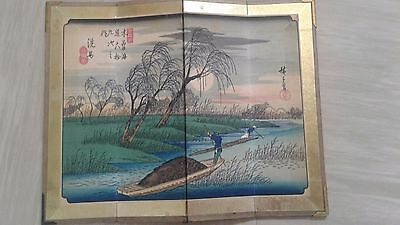 vintage Chinese or Japanese painted table screen