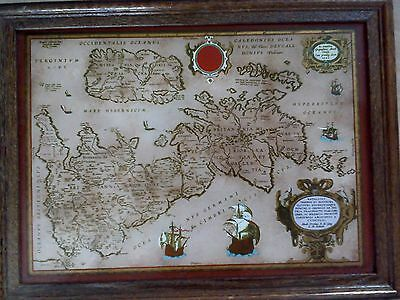 antique map 1595 hand glass painting framed