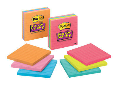 """Post it 675-3SSMX 4"""" Lined Super Sticky Recycled Notes Assorted Neon 390 Ct"""