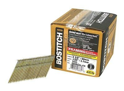 """Stanley Bostitch Galvanized Stick Nails 2-3/8 """" Length, 8d Ring Box Of 2000"""