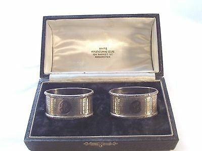 "Boxed Pair Of Sterling Silver Napkin Rings Birmingham 1938 ""g"" & ""r"""
