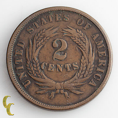 1865 Two Cent Piece (F) Fine Condition All Brown Color