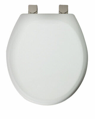 Mayfair Round Toilet Seat Molded White Brushed Nickel