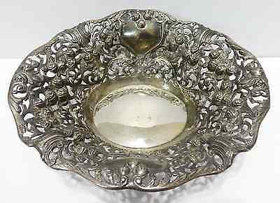 Godinger Silver Plate Antique Open Work Decorative Centerpiece Bowl Roses