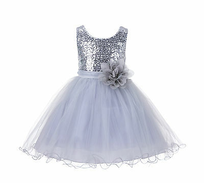 Wedding Glitter Sequin Tulle Flower girl Dress Toddler Summer Easter Kids 011NF