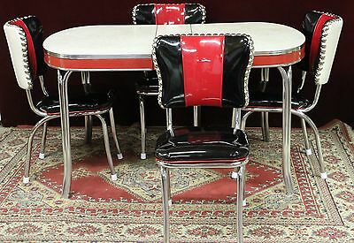 Chrome Dinette Table Chairs Red Black Pearl Gray New Custom Vinyl