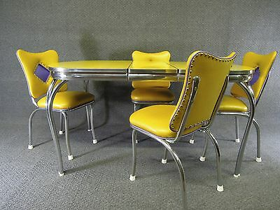 Chrome Dinette Set Crushed Ice  Table Yellow Purple  Brand New Custom Vinyl
