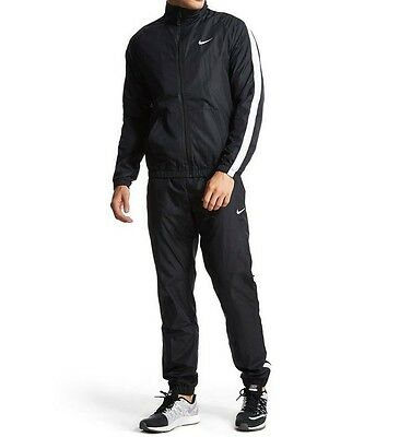 Nike Poly Warm-up Sports Full Tracksuit Jacket Bottoms Top Trousers Set - Black