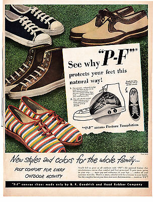 1948 PF Flyers Shoes Canvas Ruinning Sport Outdoor -Original 13 * 10 Magazine Ad