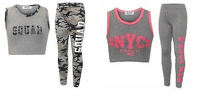 Girls Squad NYC Camouflage Summer Tracksuit Top & Leggings Age 7 8 9 10 11 12 13