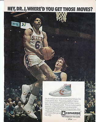 1977 Dr J Converse Shoes Original Magazine Ad Philadephia 76ers Basketball Hoops