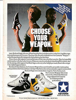 1986 Larry Bird -Magic Johnson-Converse Weapon-Original Magazine Ad-Back To Back