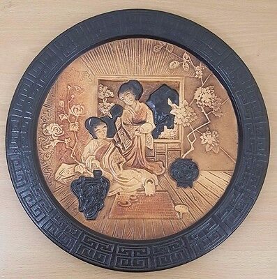 Victorian Oriental Pattern Bretby Round Wall Plaque, Chinoserie, Japonaiserie