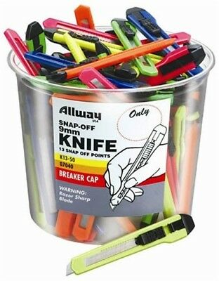 Allway Tools K13-50 9MM Snap Off Neon Knife Bucket - PK 50