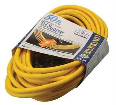 Coleman Cable 03498 50' 12/3 Yellow American Contractor™ Tri-Source® Ext Cord