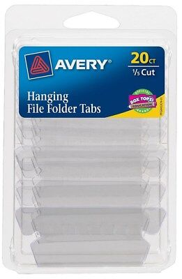 Avery 06727 20 Count 1/5 Cut Clear Hanging File Tabs - PK 6