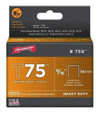 "Arrow Fastener 759 9/16"" T75 Tacker Staples 1,000 Count"