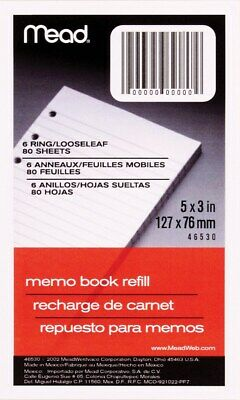 "MeadWestvaco 46530 80 Sheet 3"" x 5"" Memo Book Refill"