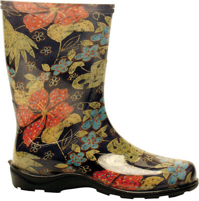 Sloggers Women'S Tall Rain And Garden Boots Black, Floral