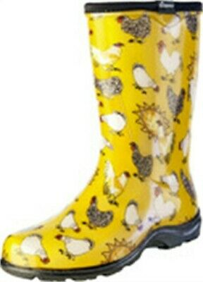 Sloggers 5016CDY10 Size 10 Yellow Daffodil Chicken Womens Rain & Garden Boot