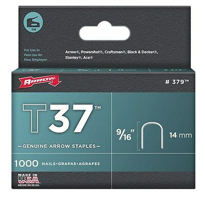 "Arrow Fastener 379 9/16"" T37 Staples 1,000 Count"