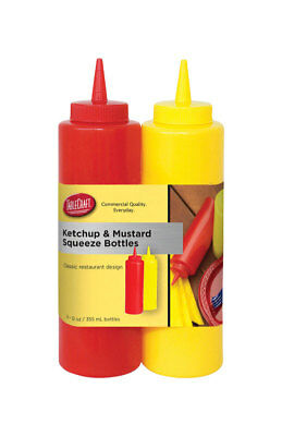 TCP Tablecraft 112KM 12 Oz Ketchup & Mustard Bottle Set 2 Count